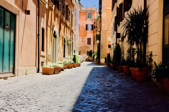 Italian town street ally of a bright summer day