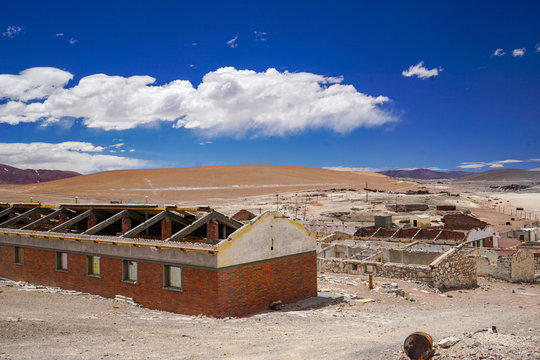 Abandoned decaying buildings in Mina La Casualidad in the puna desert near Salta, Argentina