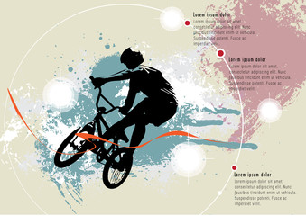 BMX rider on the abstract background, sport vector Wall mural