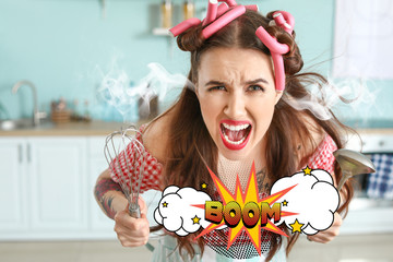 Funny angry housewife with steam coming out of ears in kitchen