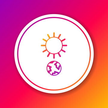 Color line Solstice icon isolated on color background. Circle white button. Vector Illustration