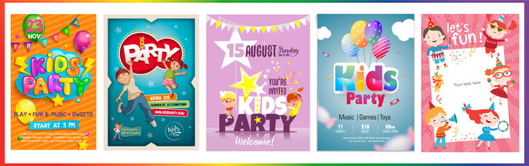 Vector Kids Party poster design template. Boy and girl happy and jumping.