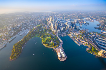Sydney Harbour from high above aerial view Fotobehang