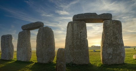 Panoramic Detail of Stonehenge Arches at Sunrise from Inside the Circle of Stones