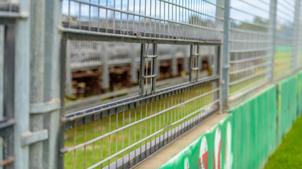 Safety barrier windows are ready to be used for the Albert Park Lake Formula One Grand Prix in Melbourne, Victoria, Australia