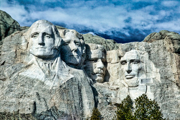 The Dramatic Mount Rushmore Sculpture of the presidents in South Dakota.