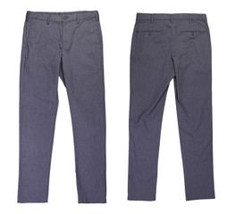 Front and back gray casual chinos pants on white background