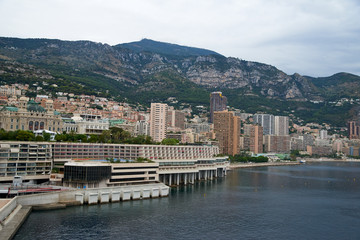 Fotobehang Stad aan het water View of Monaco hillside condos and homes from the harbor