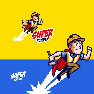 superhero repairman with vintage retro style mascot logo