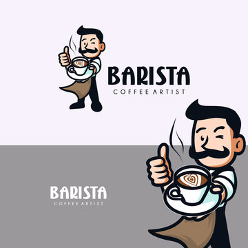 smiling barista with mustache holding a cup of coffee.