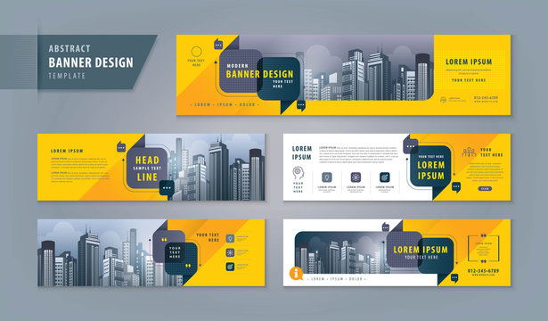 Abstract banner design web template Set, Horizontal header web banner. Modern cover header