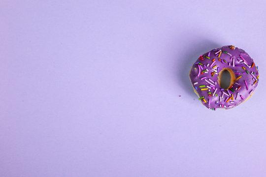 colorful doughnut purple background studio