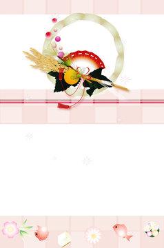 お飾りと縁起物小物のイラスト年賀状テンプレート素材