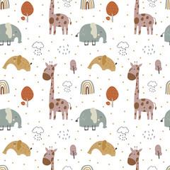 modèle sans couture mignon bébé girafe et éléphant