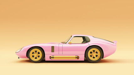 Powerful Pink an Gold Sports Roadster Coupe Car 1960's 3d illustration 3d render