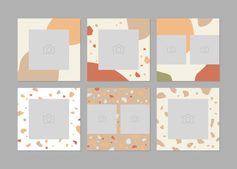 Set of 6 square layout templates for social media with image places. Abstract frames.