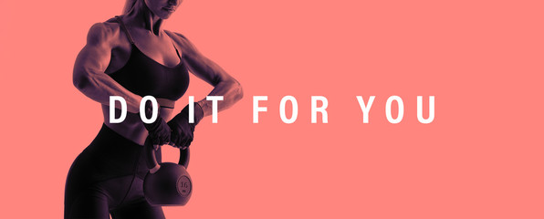 Fitness woman workout with kettlebell