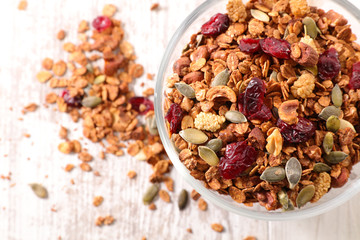 granola with nut, goji berry, seed and cereal