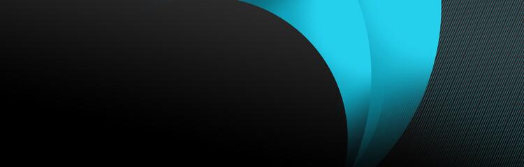 Obraz leuchtender futuristischer banner mit schwarzem Hintergrund, abstrakte Formen - fototapety do salonu