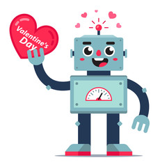 Cute robot holds a heart in his hand. card for valentines day. flat vector character.