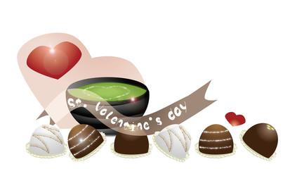 バレンタインデーマーブルチョコレートと抹茶とハートのイラスト
