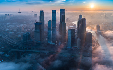 A aerial view of towers of the Moscow International Business Centre also known as Moscow City at dawn. Wall mural