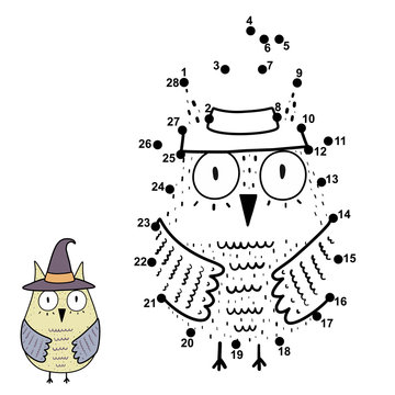 Connect the numbers and draw a funny owl in the witch hat