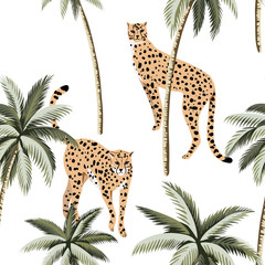 Cheetah and tropical palm trees seamless pattern. Exotic jungle wallpaper. - 312204855