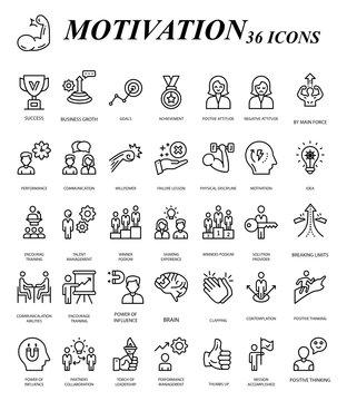 Goal and Motivation Vector Icon Set Design, Business Plan Accomplishment 36 Vectors on White Backgroun