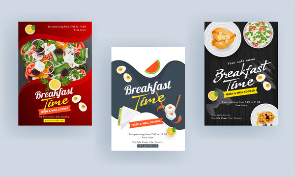 Breakfast Time Template or Brochure, Flyer Design with Fresh Salad and Delicious Food on Different Abstract Background.