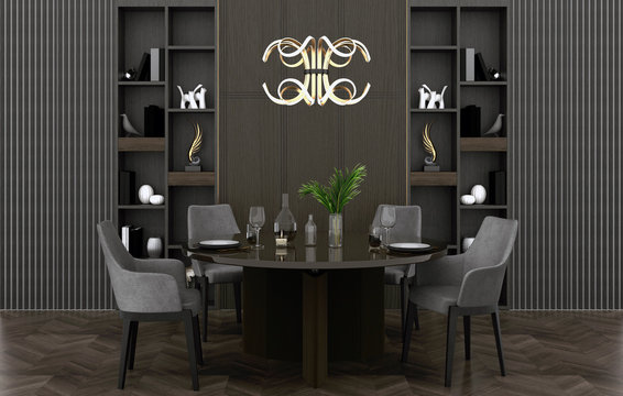 3d render. Modern dining room interior.
