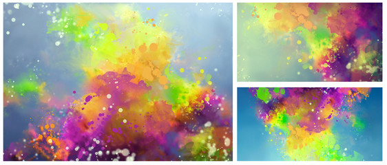 bright abstract image of watercolor splashes drops paints