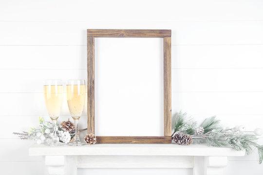 Celebratory A4 frame mockup - vertical frame made of rough wood