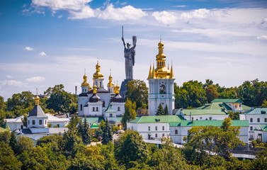An aerial view of Kiev Pechersk Lavra and the Motherland Monument in Kyiv (Kiev), Ukraine on June 30, 2019