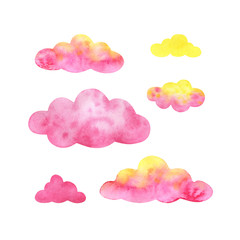 A set of multicolored clouds. Pink,  yellow. A fabulous sky.Watercolor illustrations isolated on white background.