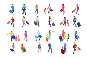 Isometric Tourism and Booking App concept. Travel equipment and luggage on a mobile laptop touch screen. Travel and tourism background. Fotomurales