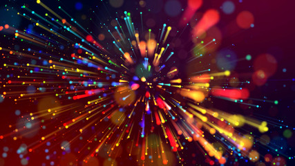 3d abstract beautiful background with light rays colorful glowing particles, depth of field, bokeh. Abstract explosion of multicolored shiny particles or light rays like laser show. Wall mural