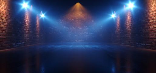 Neon Retro Brick Walls Club Mist Dark Foggy Empty Hallway Corridor Room Garage Studio Dance Glowing Blue Orange Spot Lights Concrete Floor 3D Rendering