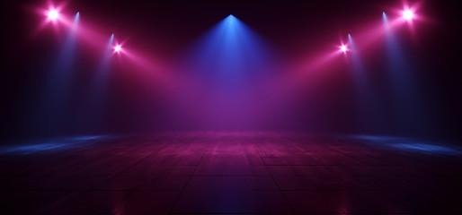 Neon Retro Brick Walls Club Mist Dark Foggy Empty Hallway Corridor Room Garage Studio Dance Glowing Blue Purple Spot Lights Concrete Floor 3D Rendering Fototapete