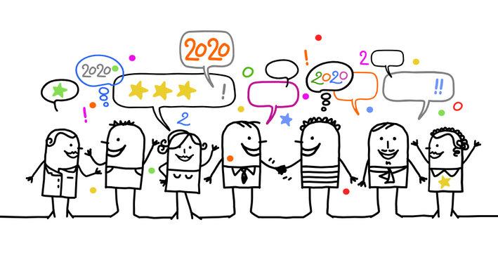 HAPPY CARTOON PEOPLE AND HAPPY NEW YEAR 2020