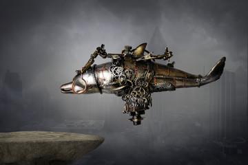 Steampunk robot macchina volante del futuro