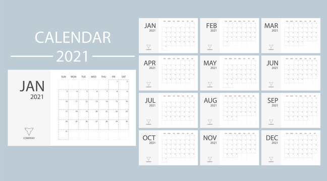 White calendar 2021 with week starts on Sunday. Minimal planner vector template date desk. Modern design office organizer. Schedule number style diary