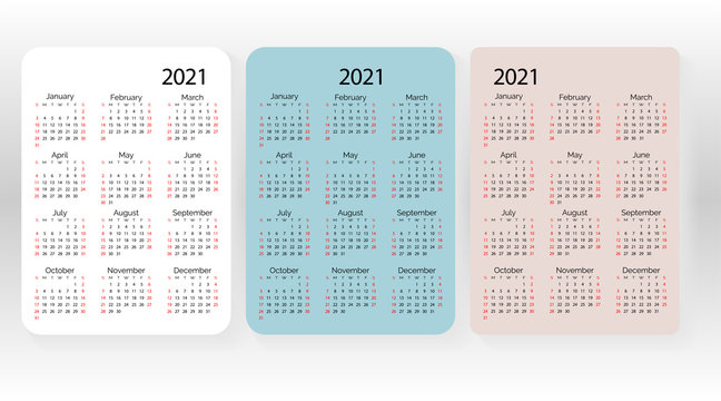 Set of vector pocket calendar 2021 year. Minimal business simple clean design. English grid, week starts from sunday.
