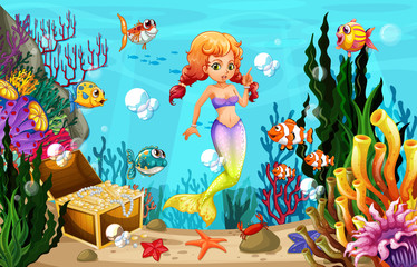 Wall Murals Mermaid Mermaid and many fish under the ocean