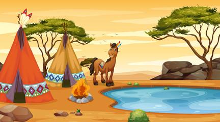 Photo sur Plexiglas Jeunes enfants Scene with horse and teepee