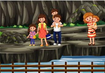 In de dag Kids Scene with people on the rock