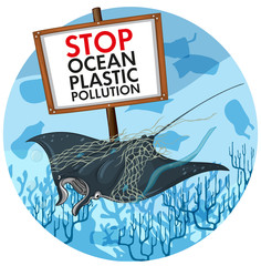 Foto op Plexiglas Kids Poster design with stingray and plastic pollution sign