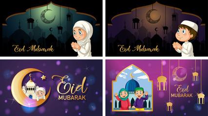 Photo sur Aluminium Jeunes enfants Four background designs for Muslim festival Eid Mubarak