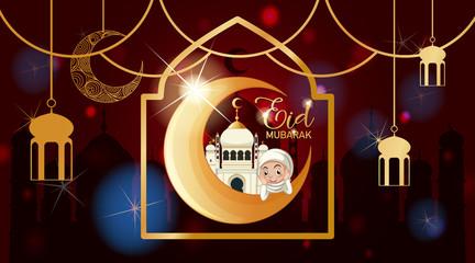 Photo sur Aluminium Jeunes enfants Background design for Muslim festival Eid Mubarak