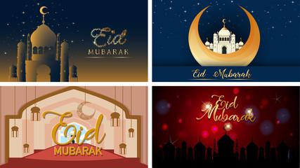 Four background designs for Muslim festival Eid Mubarak